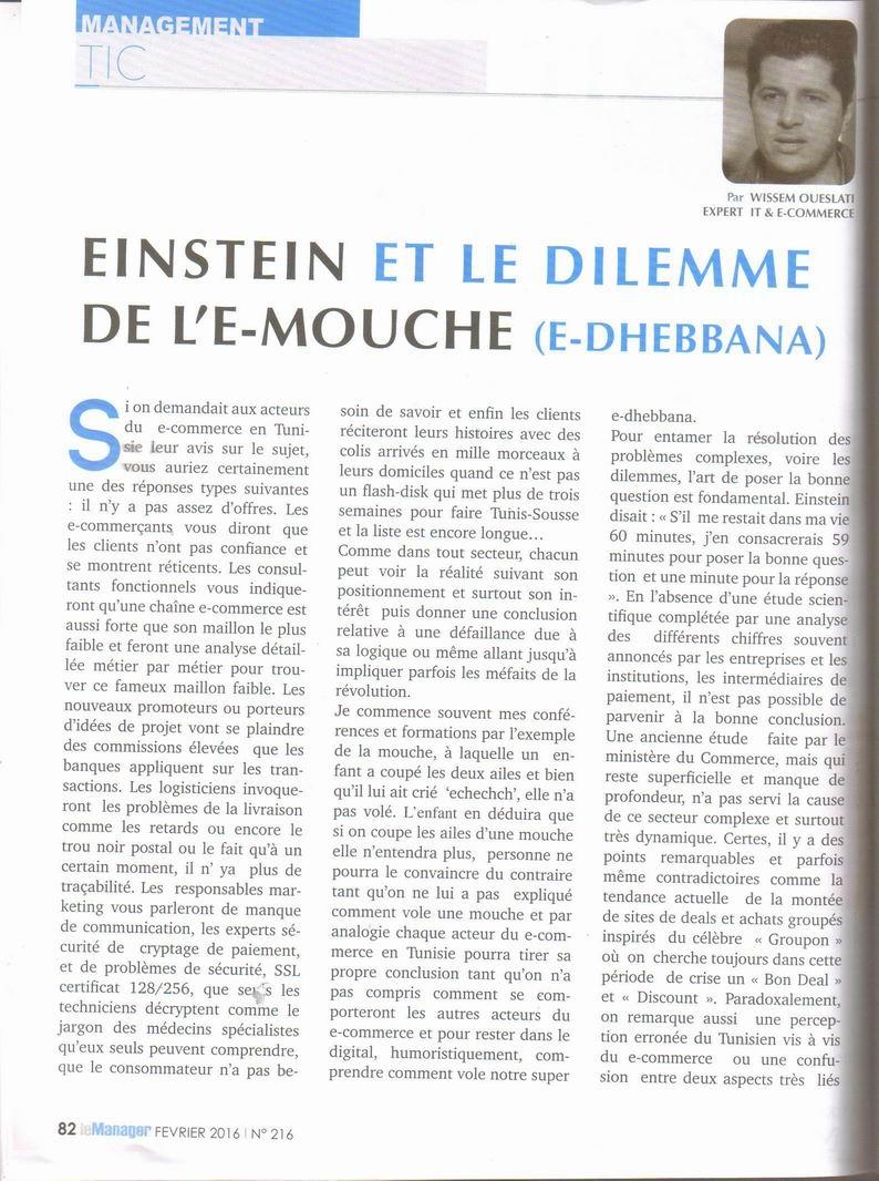 Article complet tdans Kiosque , Le Manager fevrier 2016